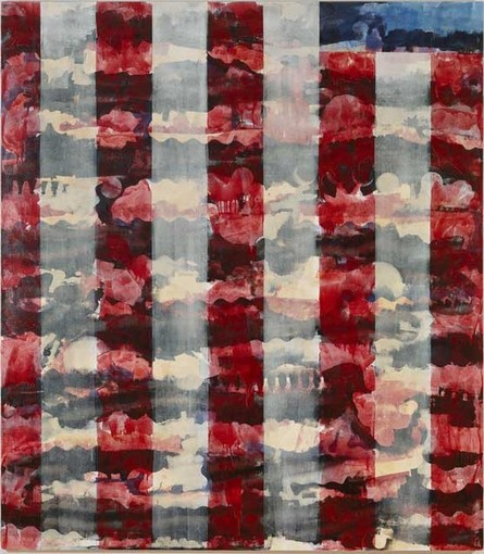 Rick Arnitz, Partial Landscape, painting img of American Flag alkyd on canvas 80 x 70 inches