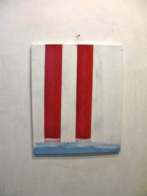 Rick Arnitz painting img of Twin Towers in red, white, and blue